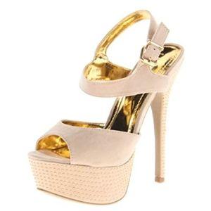 """Liliana 6"""" Beige & Gold Accent Stilettos"""